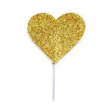 12 Glitter Hearts Cake Toppers